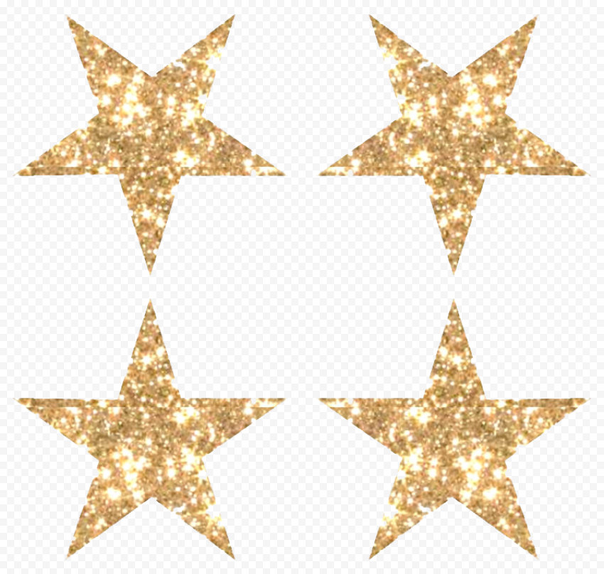 Four Golden Glitter Stars