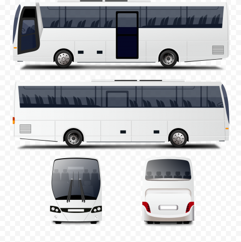 Four white Bus Front Back Left Right View
