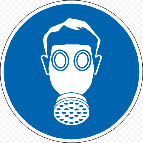 Gas Mask Sign Icon Symbol Blue PPE