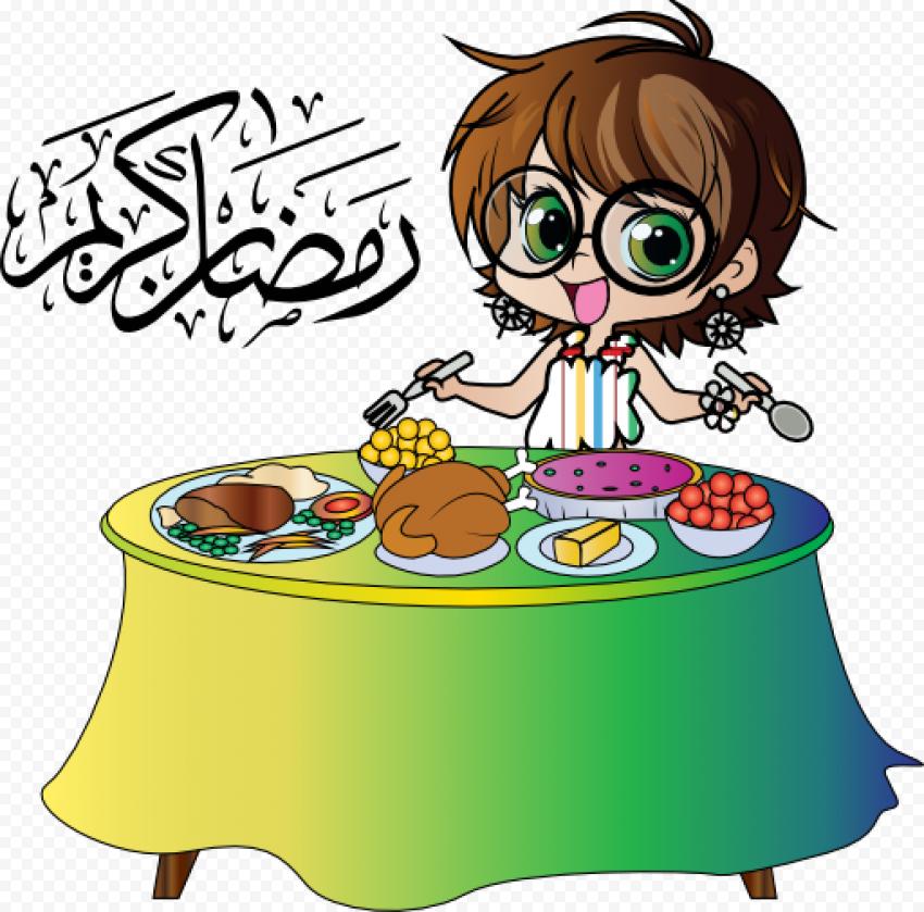 Girl Child Cartoon Ftour Character Ramadan