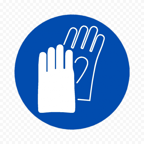 Glove Protection PPE Safety Blue Round Sign