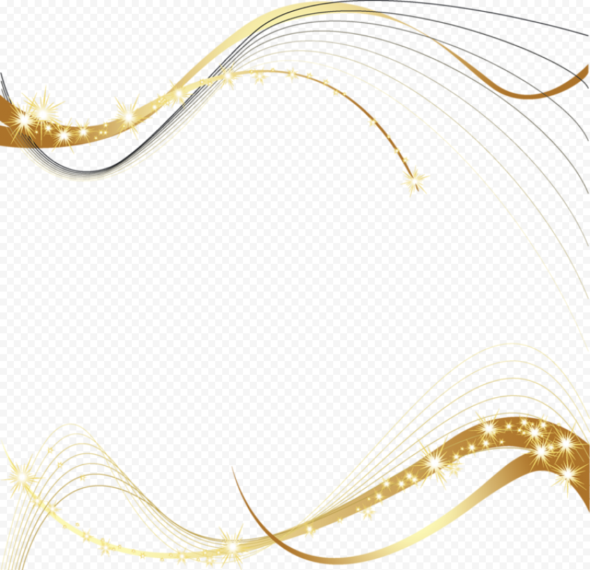 Gold Ribbon Curved Lines Abstract Bright Clipart