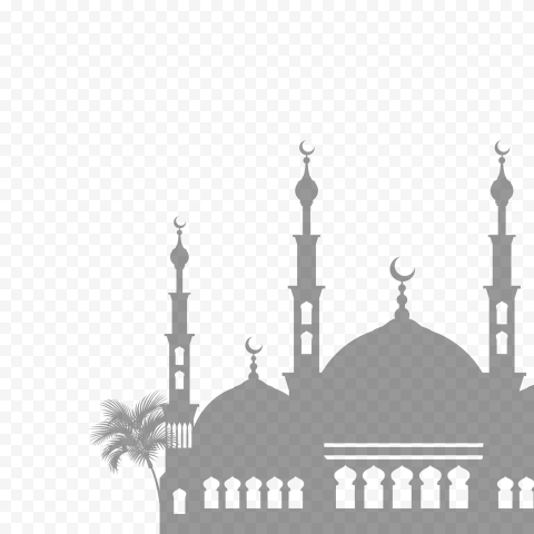 Gray Islamic Mosque Silhouette Ramadan Icon