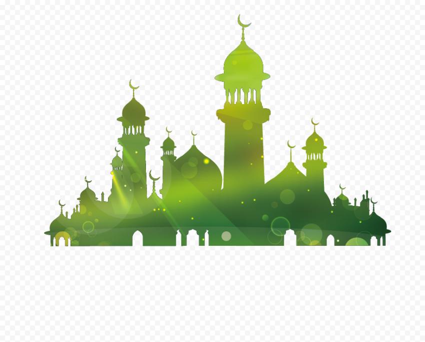Green Islamic Mosque Illustration Silhouette