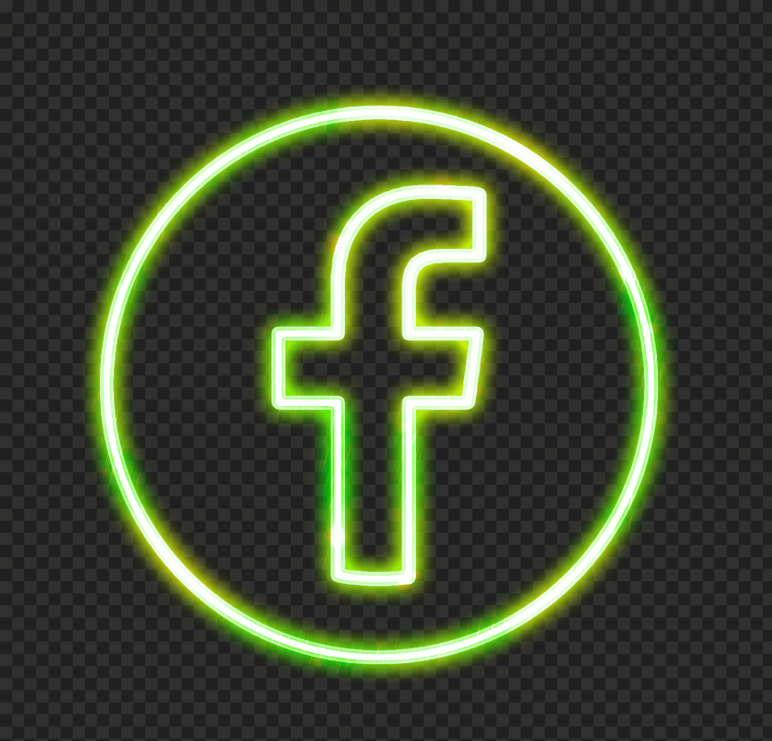 Green Neon Facebook Logo Icon