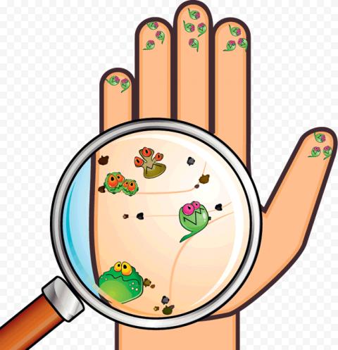 Hand Virus Bacteria Germs Cartoon Magnifying
