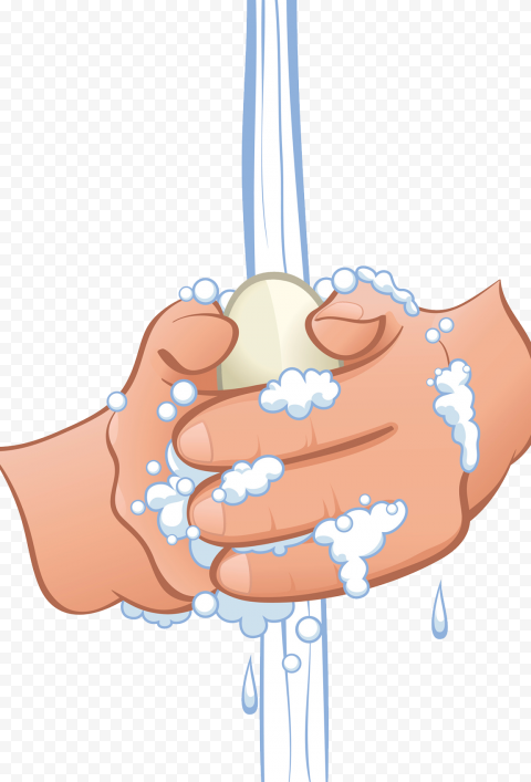 Hands Washing Cartoon Clipart Soap Water Hygiene