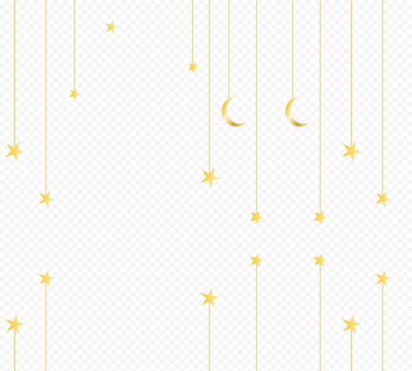 Hanging Gold Yellow Ramadan Moon Stars Decor