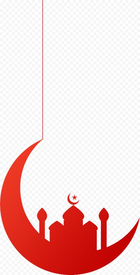 Hanging Red Moon Mosque Ramadan Kareem