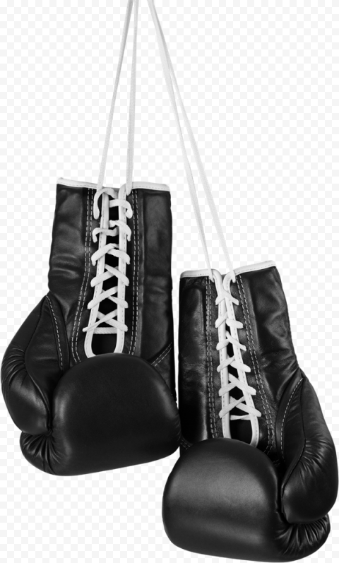 Hanging Up Black Boxing Gloves Box Pair