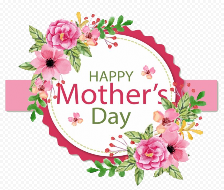 Happy Mothers Day badge with pink Flowers