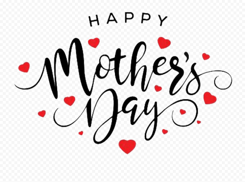 Happy Mothers Day Black Text With Float Hearts