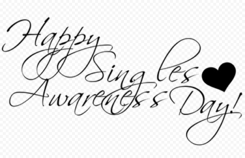 Happy Singles Day Outline Text Black