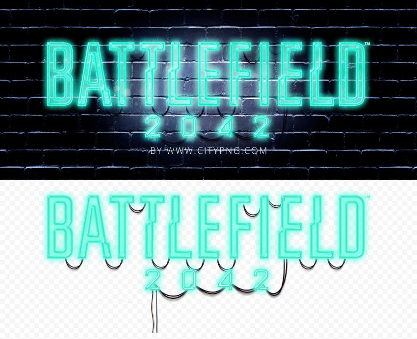 HD Beautiful Battlefield 2042 Neon Logo PNG