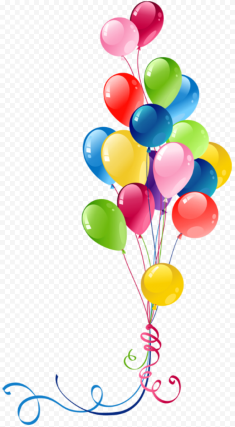 HD Birthday Party Colorful Balloons Illustration PNG