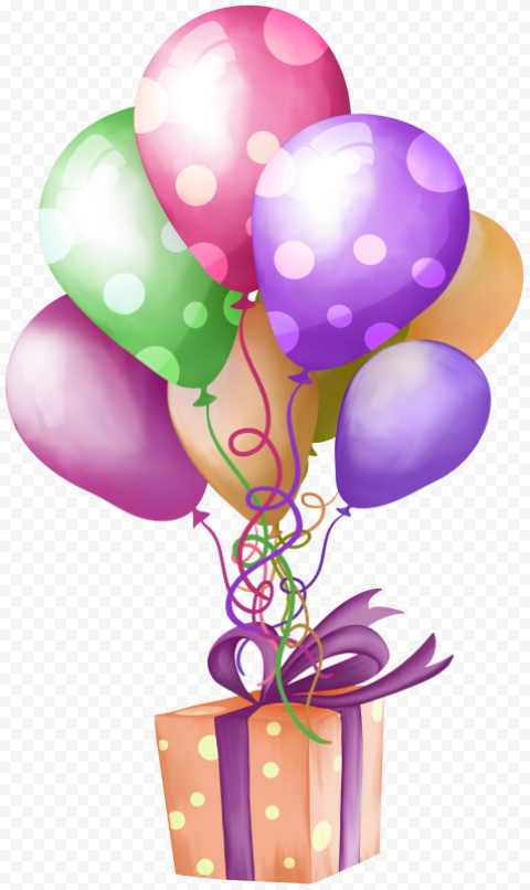 HD Birthday Party Flying Cartoon Balloons And Gift Box PNG