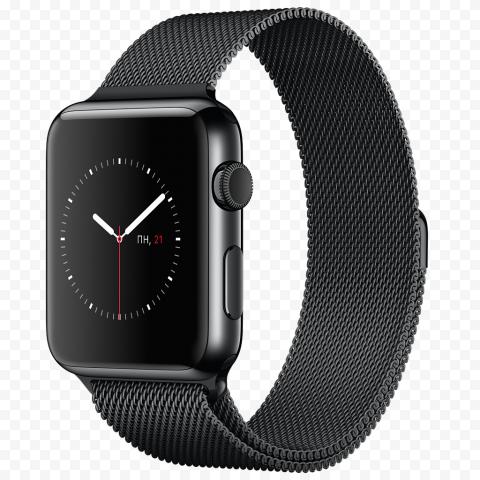HD Black Apple Smart Watch Series 2 PNG