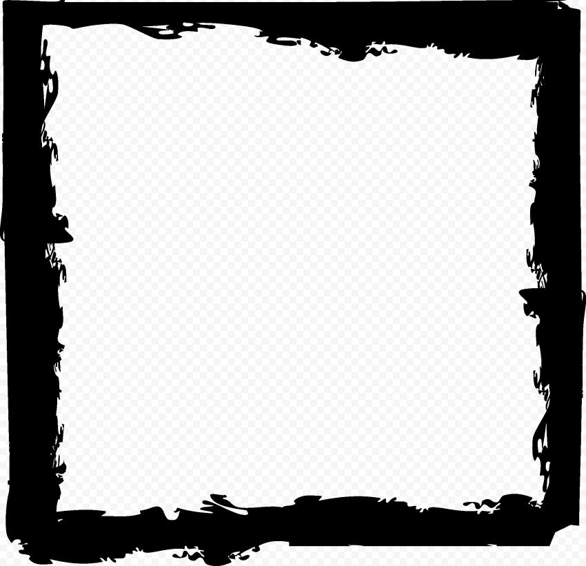HD Black Brush Stroke Grunge Square Frame PNG