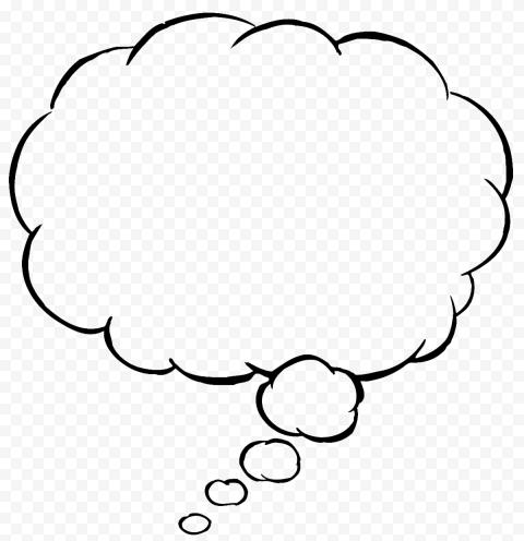 HD Black Comic Speech Thinking Cloud Balloon PNG
