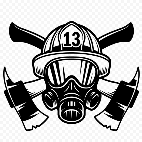 HD Black Fireman Firefighter Mask With Axe Logo PNG