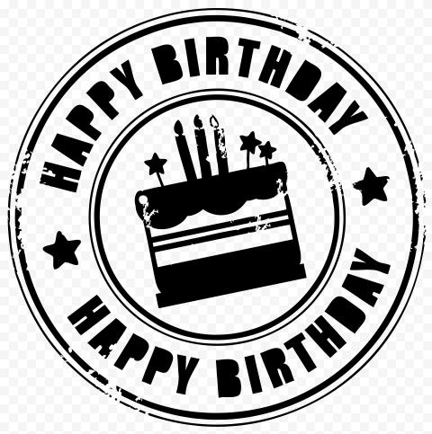 HD Black Happy Birthday Round Stamp PNG
