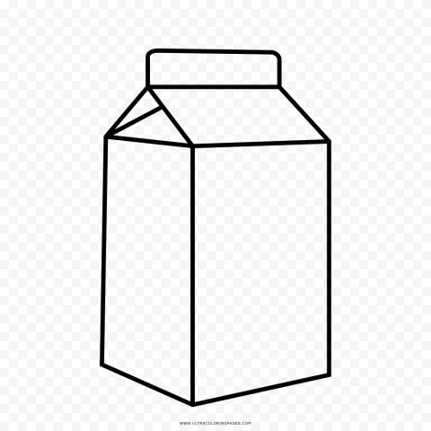 HD Black Line Outline Milk Carton Box PNG