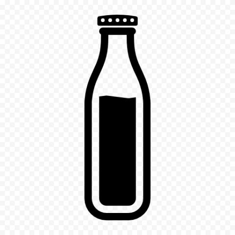 HD Black Outline Milk Bottle Icon Transparent PNG