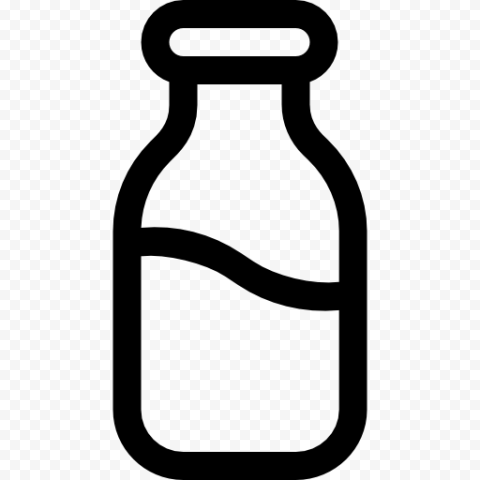 HD Black Outline Milk Water Bottle Icon PNG