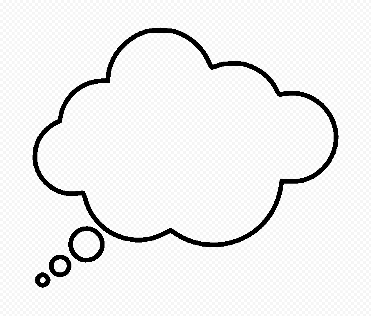 HD Black Outline Thinking Speech Cloud PNG