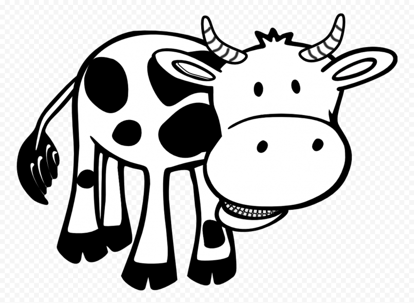 HD Black & White Dairy Cow Calf Cattle Cartoon Clipart PNG