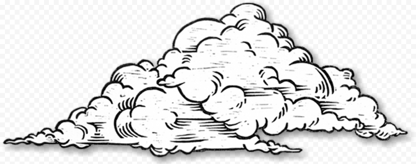 HD Black & White Drawing Sketch Clouds PNG