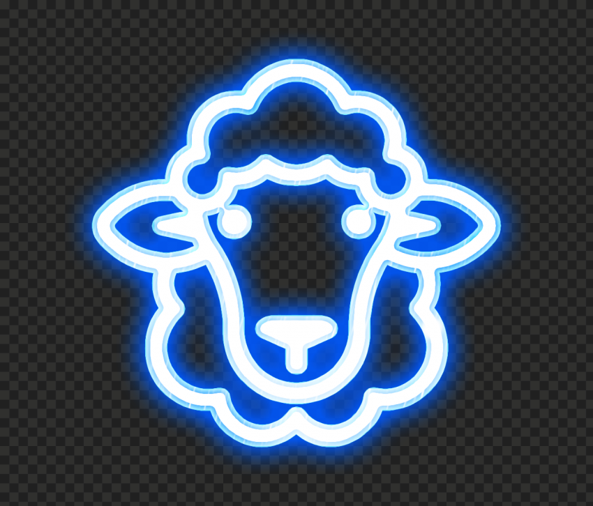 HD Blue Glowing Neon Sheep Head Face Icon PNG