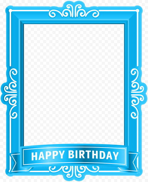 HD Blue Happy Birthday Poster Frame PNG