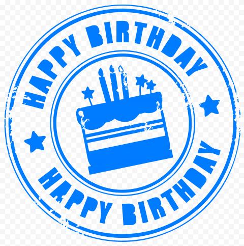 HD Blue Happy Birthday Round Stamp PNG