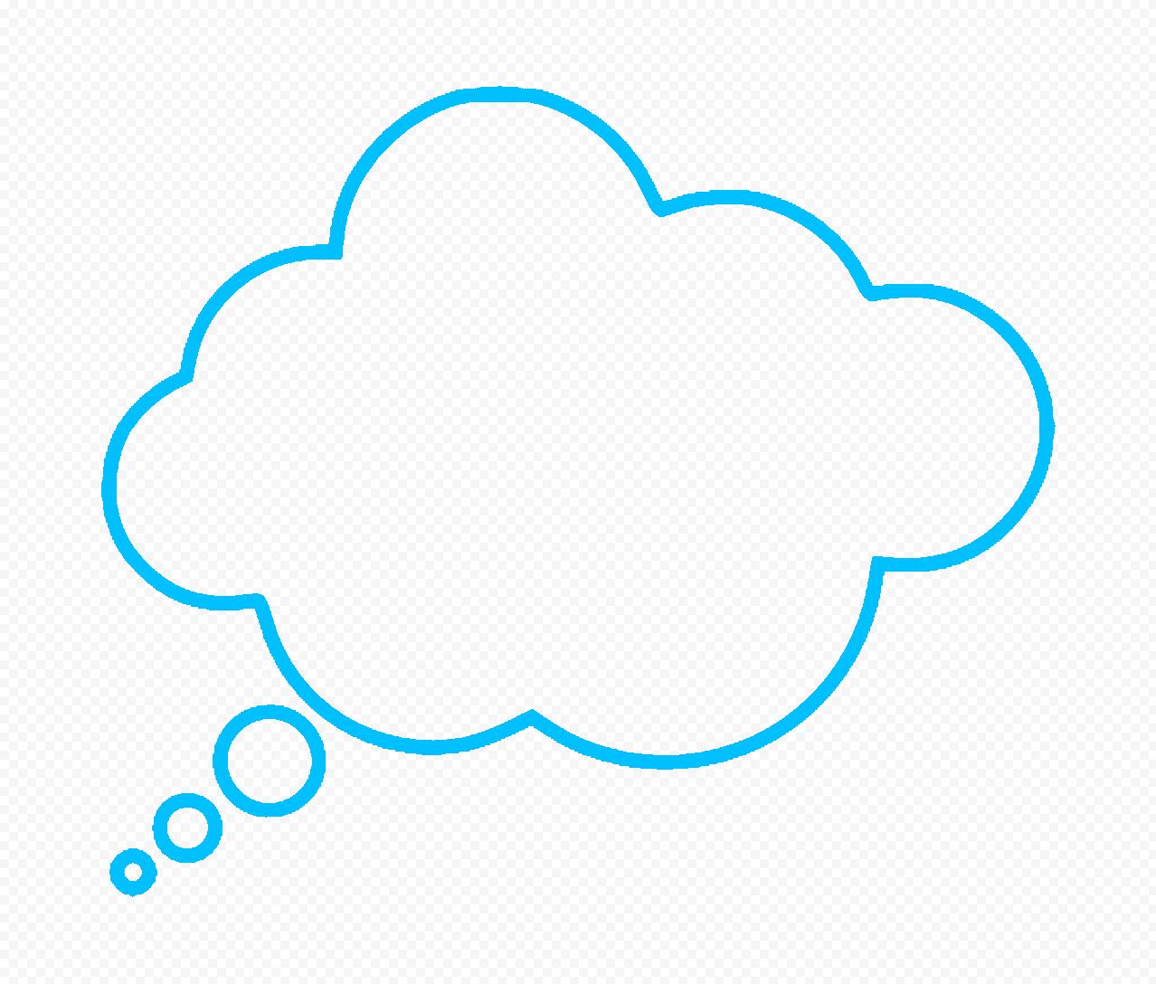 HD Blue Outline Thinking Speech Cloud PNG