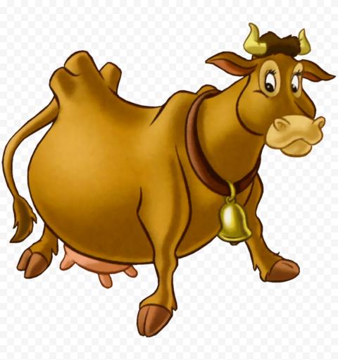 HD Brown Dairy Cow Cartoon PNG