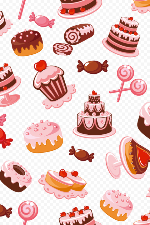 HD Cakes, Muffins And Candy Pattern Background PNG