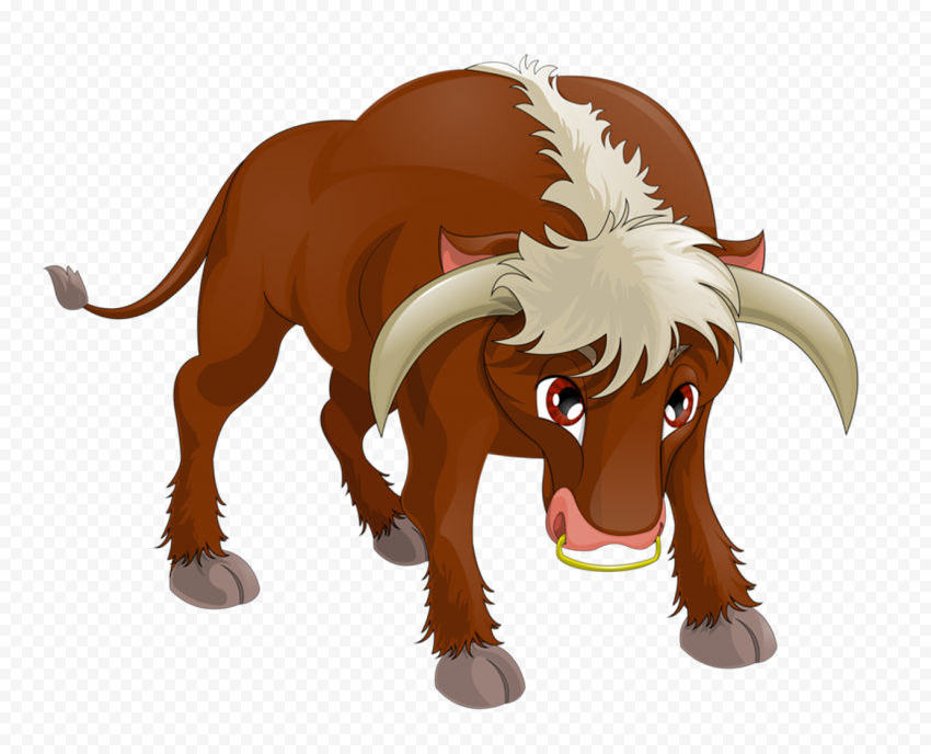 HD Cartoon Angry Bull Cattle Cow PNG