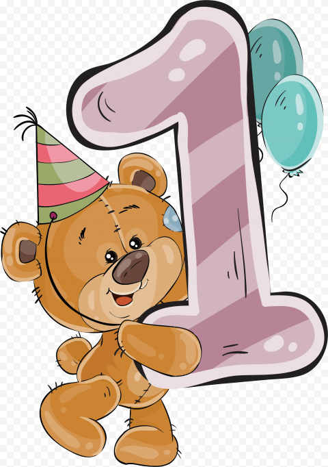 HD Cartoon Bear Holding 1st Birthday Number 1 With Balloons PNG