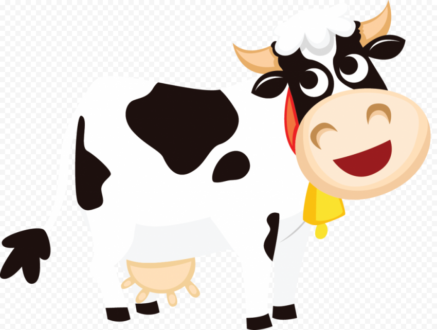 HD Cartoon Black & White Dairy Cow Transparent PNG