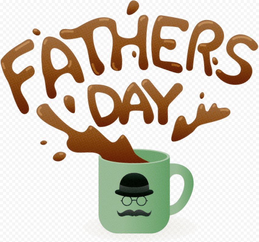 HD Cartoon Coffee Cup Splash Father's Day Design PNG