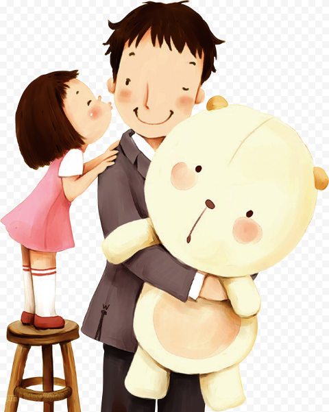 HD Cartoon Happy Father And daughter PNG
