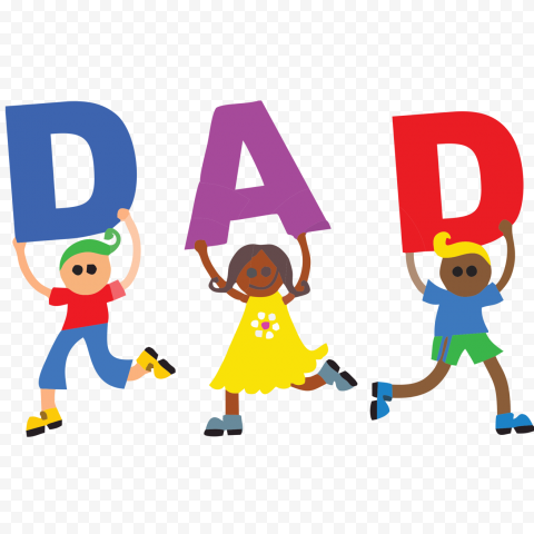 HD Cartoon Kids Holding DAD Letters PNG