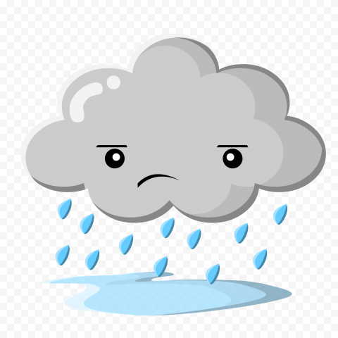 HD Cartoon Sad Rain Rainy Cloud PNG