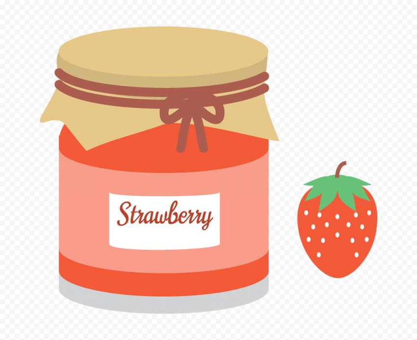 HD Cartoon Strawberry Marmalade Jam Jar PNG