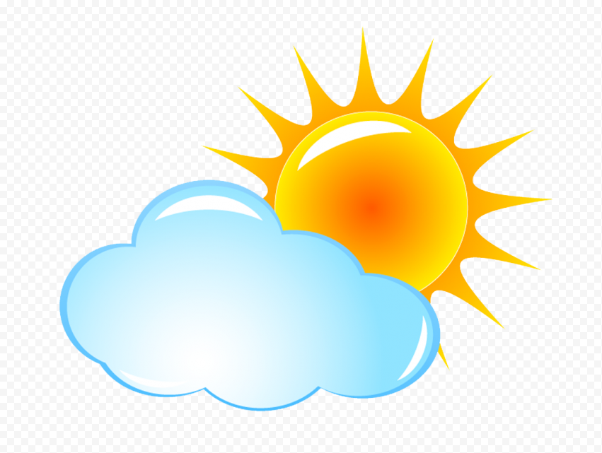 HD Cartoon Sun With Cloud Weather Icon PNG