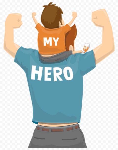HD Child & Father Vector Cartoon Hero Dad Transparent PNG