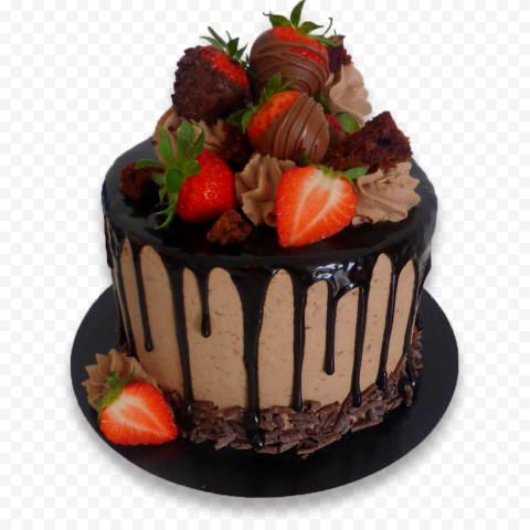 HD Chocolate And Strawberry Cake PNG