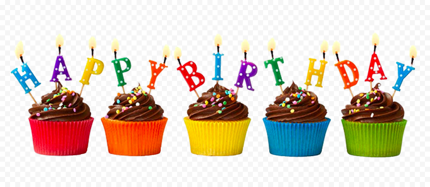 HD Colorful Happy Birthday Cupcakes PNG