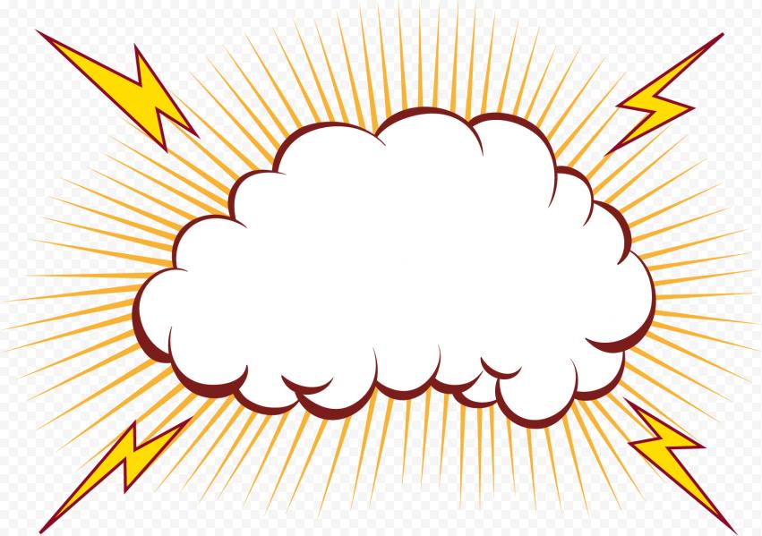 HD Comic Cartoon Dialog Speech Cloud Explosion PNG
